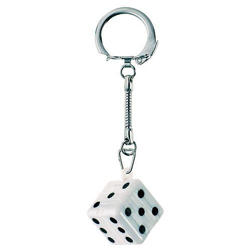 Schlüsselanhänger Knobel-Würfel, schwarz/weiß