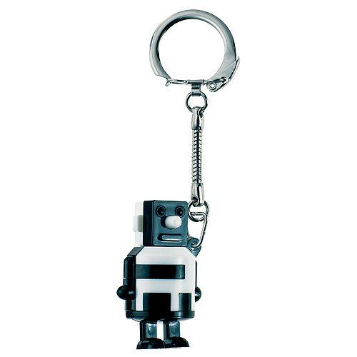 Schlüsselanhänger Knobel-Roboter, schwarz/weiß