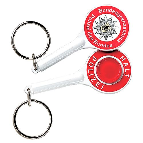 Schlüsselanhänger Polizeikelle, weiß