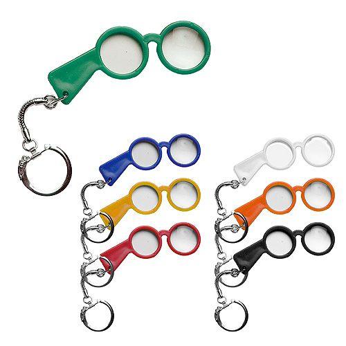 Schlüsselanhänger Brille, weiß