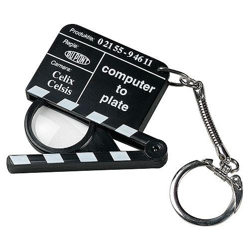 Schlüsselanhänger Lupen-Filmklappe, schwarz