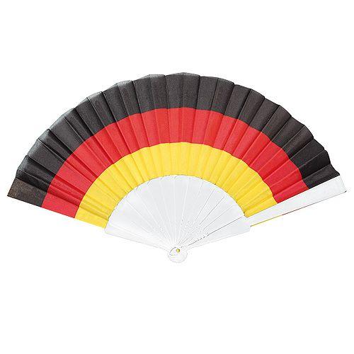 Fächer Nations, schwarz/rot/gelb, (Gestänge weiß) NEU !