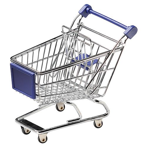 Miniatur-Einkaufswagen, silber, (Räder fest) schw. Einzelk.