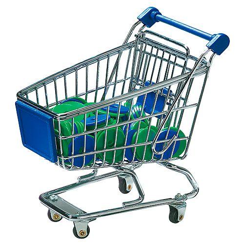 Miniatur-Einkaufswagen mit Chips, silber
