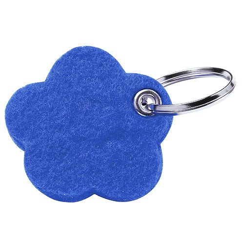 Filz-Schlüsselanhänger Motiv, BLUME, blau