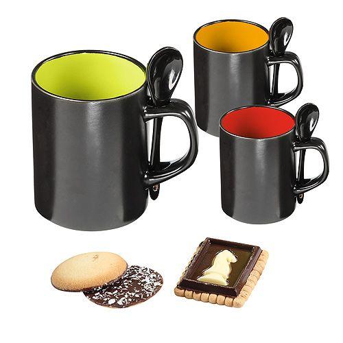 Tasse Allie, schwarz/Latte Macchiato, NEUE GRÖSSE !