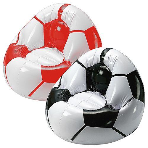 Aufblasbarer Fußballsessel Coach, schwarz/weiß, 10P PVC
