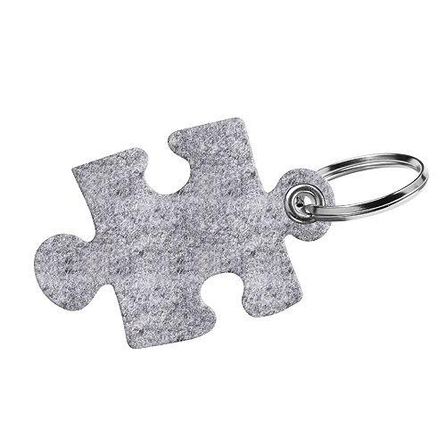 Filz-Schlüsselanhänger Puzzle, grau