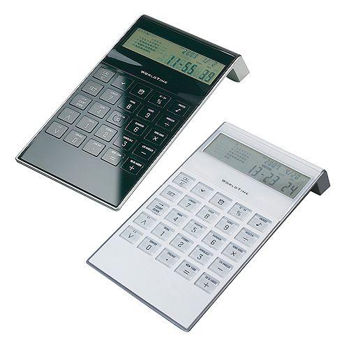 Tischrechner World Time, weiß, NEU, EK matt schwarz