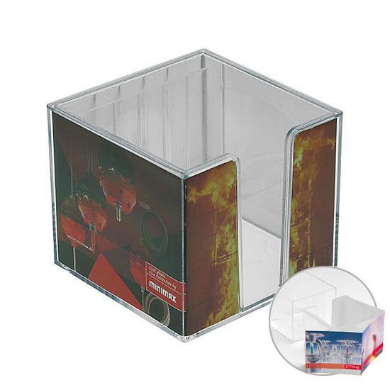 Zettelbox, doppelwandig mit Köcher
